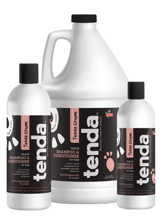 Tenda Equine & Pet Care Peach Shampoo & Conditioner for dogs.