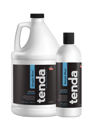 Tenda Equine & Pet Care Leg & Muscle Care Simply Blue, soothing lotion.