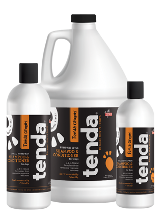 Tenda Equine & Pet Care Spiced Pumpkin Shampoo & Conditioner for dogs.