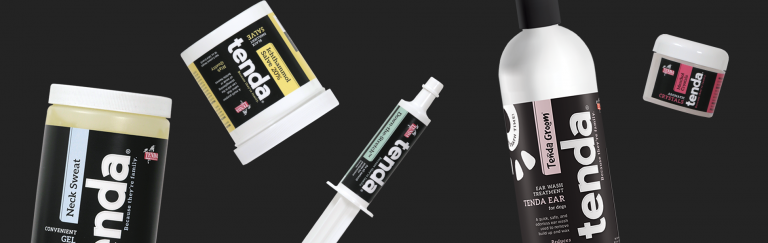 Tenda Equine & Pet Care products. Neck Sweat, Ichthammol Salve 20%, Down-The-Stretch, Tenda Ear, Menthol Crystals.